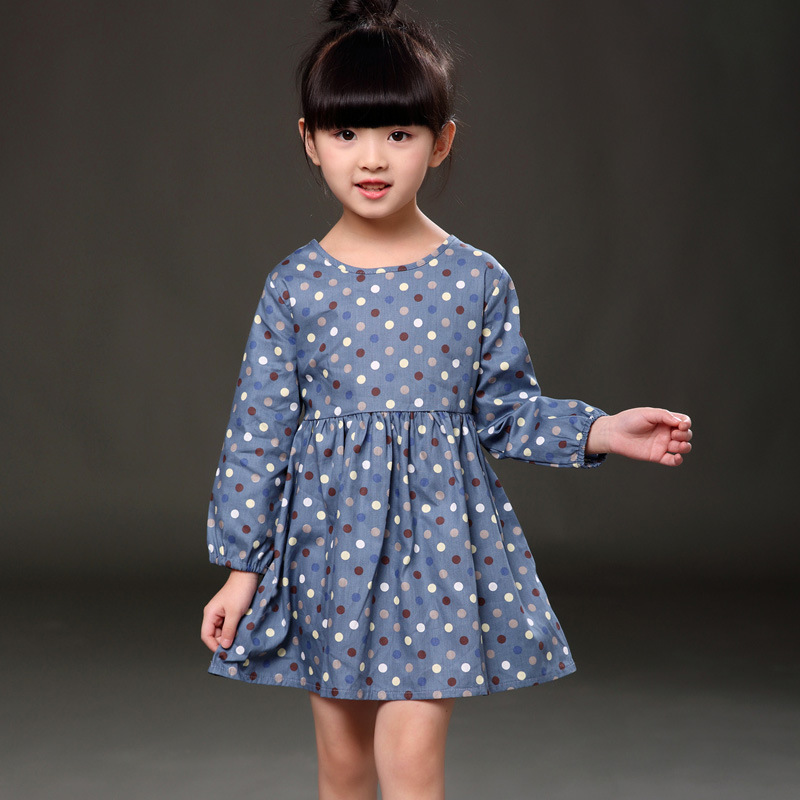 Spring Autumn Girls' Dress Polka Dot Kids Dresses for Girls Cotton Long Sleeve Children's Dress Cute Girls Clothes 3-7 years toddlers girls dots deer pleated cotton dress long sleeve dresses page 8