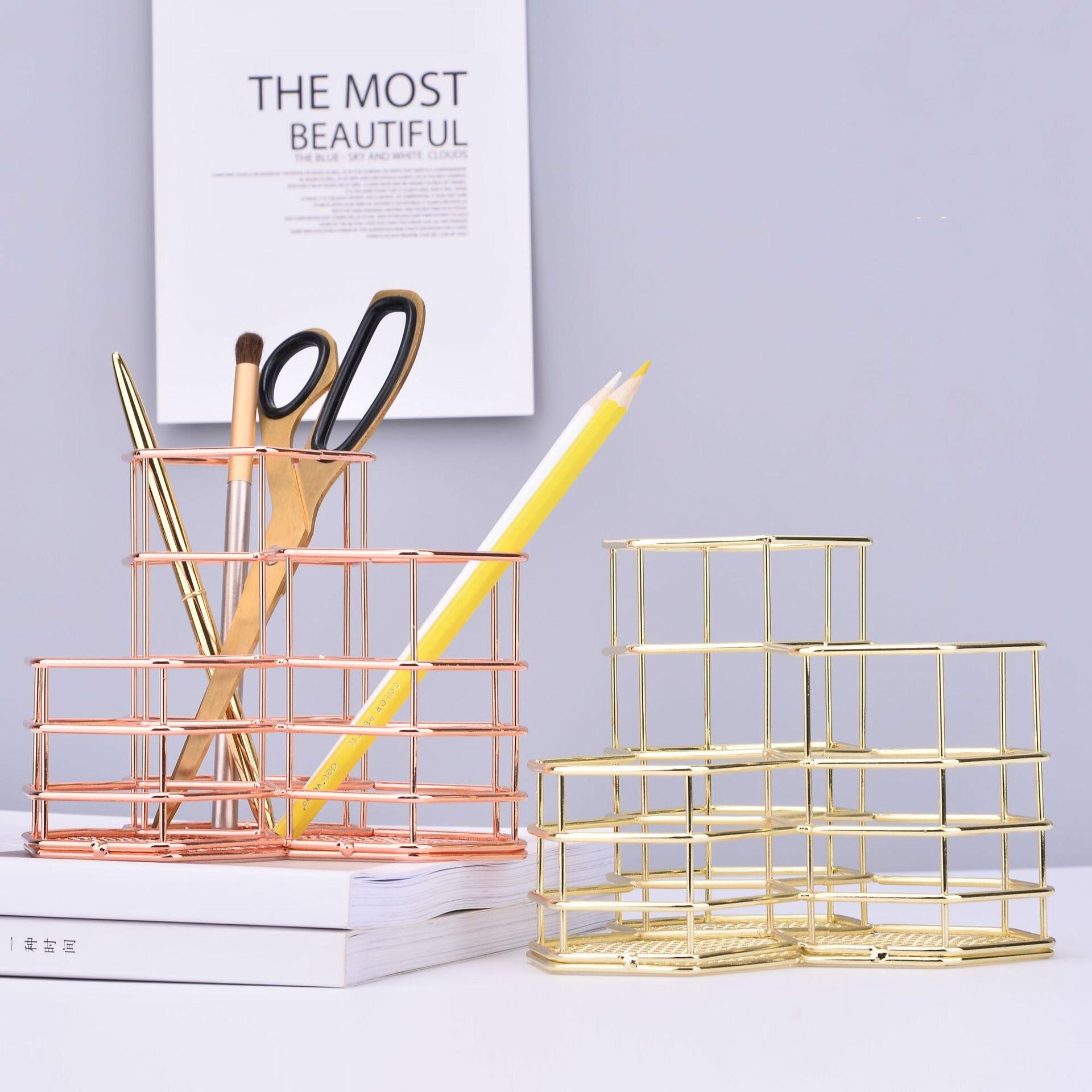 Rose Gold Hollow Pen Holder Pencil Pot Box Case Makeup Brushes Storage Desk  Organiser Container Stationery Decor Storage Gift