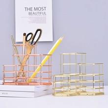 Rose Gold Hollow Pen Houder Potlood Pot Box Case Make Up Kwasten Opslag Bureau Organisator Container Briefpapier Decor Opslag Gift