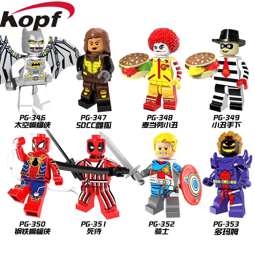 Single Sale Super Heroes Space Batman Vixen Iron Spider-Man Ronald McDonald with Joker's Face Building Blocks Kids Toys PG8084 moc the iron man work station hall of armor war machine super heroes avengers building blocks kids toys not include minifig