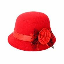 Модная шелковая шляпа с цветами в стиле ретро, однотонная модная женская фетровая шляпа, Пляжная шерстяная фетровая шляпа Боулер Дерби, шапки, 4 цвета