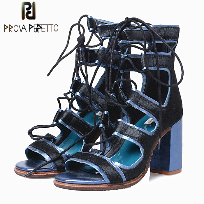 Prova Perfetto Fashion Horsehair Cross Tied Hollow Out Peep Toe Women Sandals Sexy Chunky High Heels Gladiator Sandal Women Shoe prova perfetto design women gladiator sandals summer boots sexy chunky high heels hollow out strap sandal women pumps ankle boot