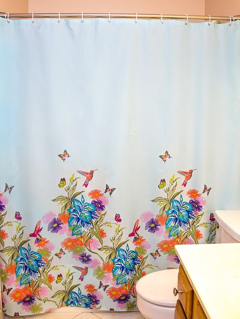 Blue With Flowers Birds And Butterflies SYOM Shower Curtain Set Hooks Polyester Non