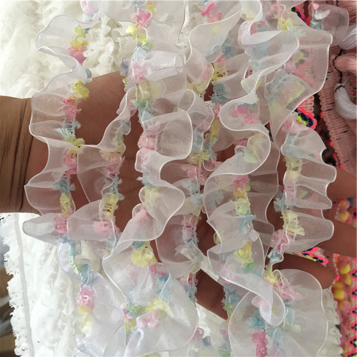 1.5CM Wide Luxury Tulle 3D Lace Fabric Flower Elastic Pleated Organza Ruffle Trim Appliques Collar Garment Dress Sewing Supplies(China)