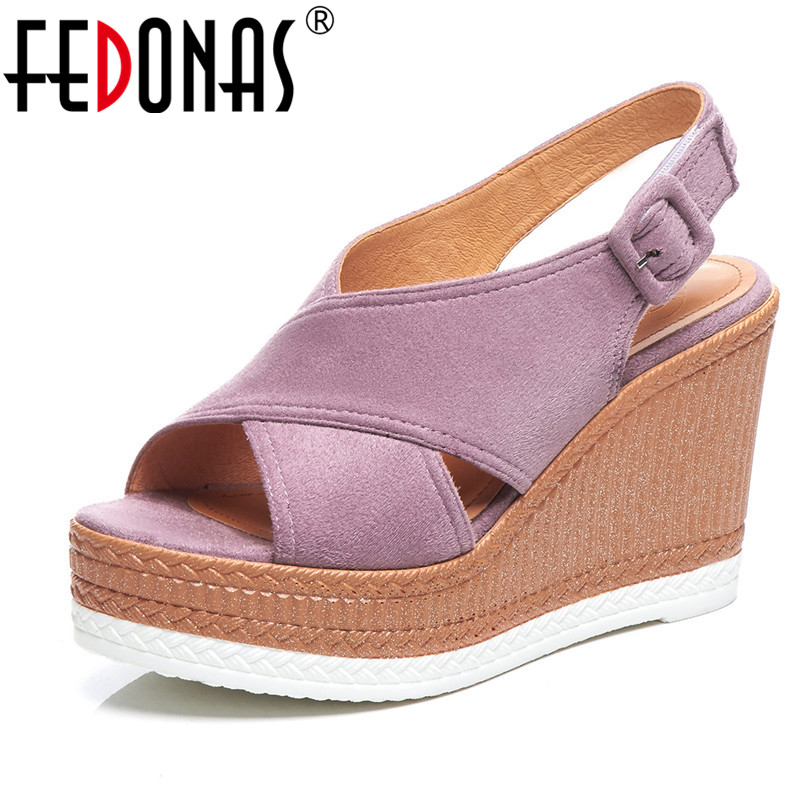 FEDONAS Women platform Style Sandals Quality Flock Casual Wedge Sandals Buckle Strap Sandals Summer Party Pumps Shoes WomanFEDONAS Women platform Style Sandals Quality Flock Casual Wedge Sandals Buckle Strap Sandals Summer Party Pumps Shoes Woman