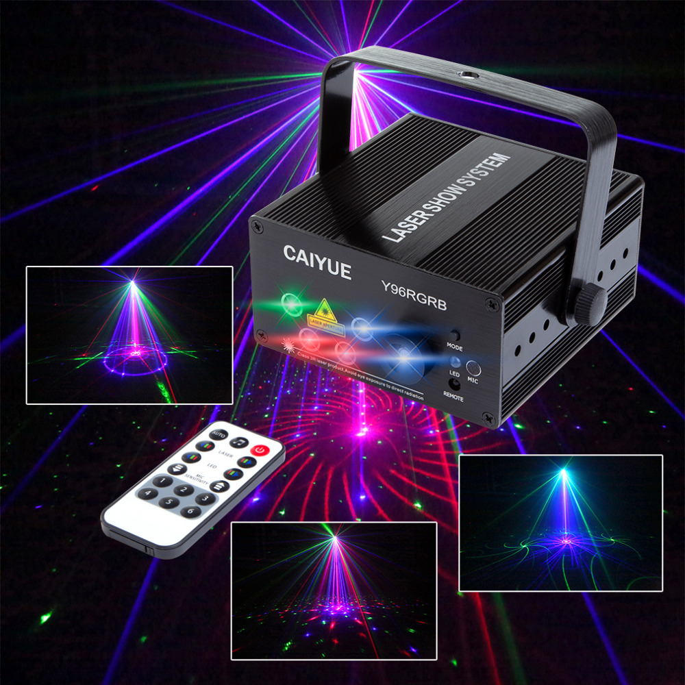 New 96 Patterns RGB Mini Laser Projector Light DJ Disco Party Music Laser Stage Lighting Effect With LED Blue Xmas Lights new full color laser dj party disco light led rgb downlight laser projection stage lights channel par64 dmx512 lighting