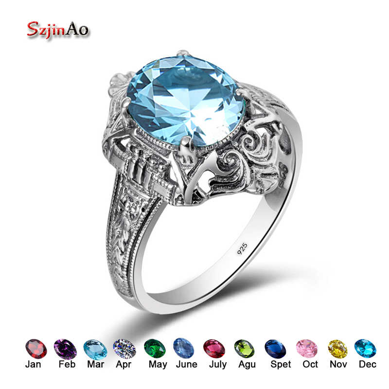 Szjinao March Birthstone Fashion Owl Rings For Women Bing Stone