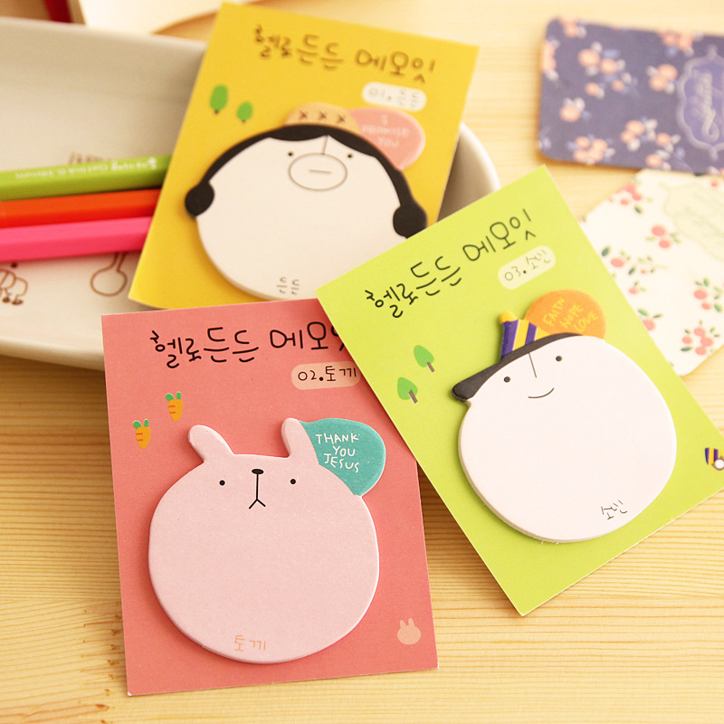Memo Pads Kawaii Cartoon Picture Stickers Cute Animal Head Self-adhesive Paper N Times Posted Sticky Notes Page Markers Office