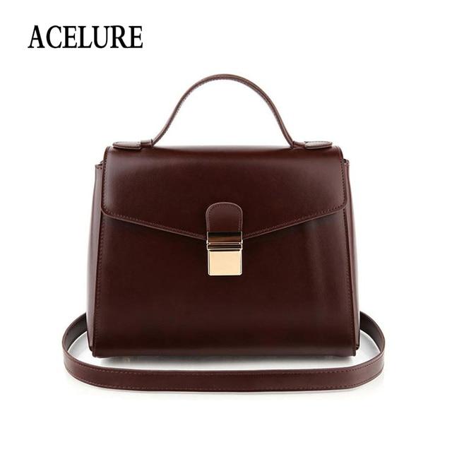 16fc7fc2cbfa ACELURE Solid Color Ladies Satchels Simple Vintage Pu Leather Women  Shoulder Bags All-Match Casual Handbags Ladies Handbags