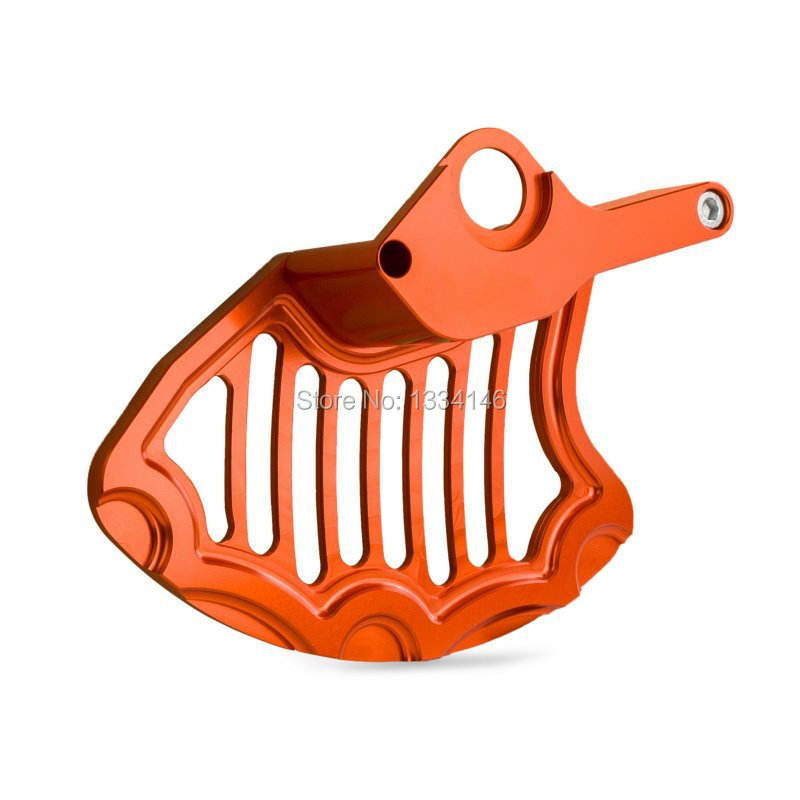 BILLET FRONT BRAKE DISC GUARD ORANGE For KTM 125 250 350 450 525 EXC SX XCW 2004-2014 motorcycle front rider seat leather cover for ktm 125 200 390 duke