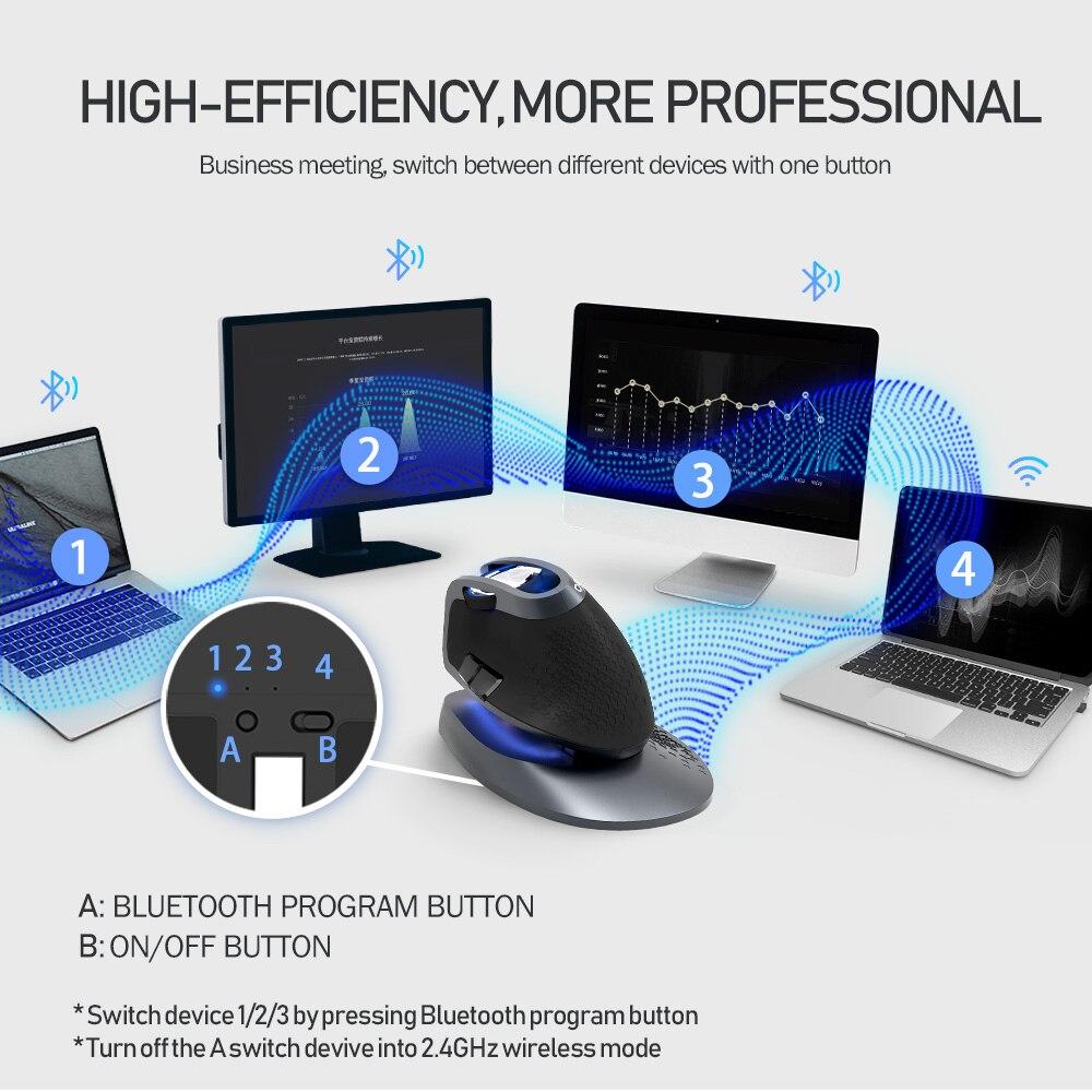 Delux M618X 2.4 Ghz sans fil + Bluetooth 3.0/4.0 multi-mode souris Rechargeable ergonomique Vertical ordinateur USB optique 6D souris - 3