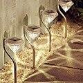 4 шт./лот  водонепроницаемые уличные лужайки с солнечной батареей  светодиодные точечные светильники  садовые светильники из нержавеющей ст...