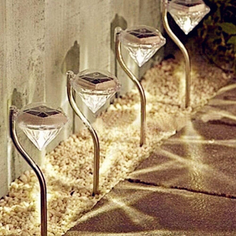 4pcs/lot Waterproof Outdoor Solar Power Lawn Lamps LED Spot Light Garden Pathway Stainless Steel Solar Landscape Lighting