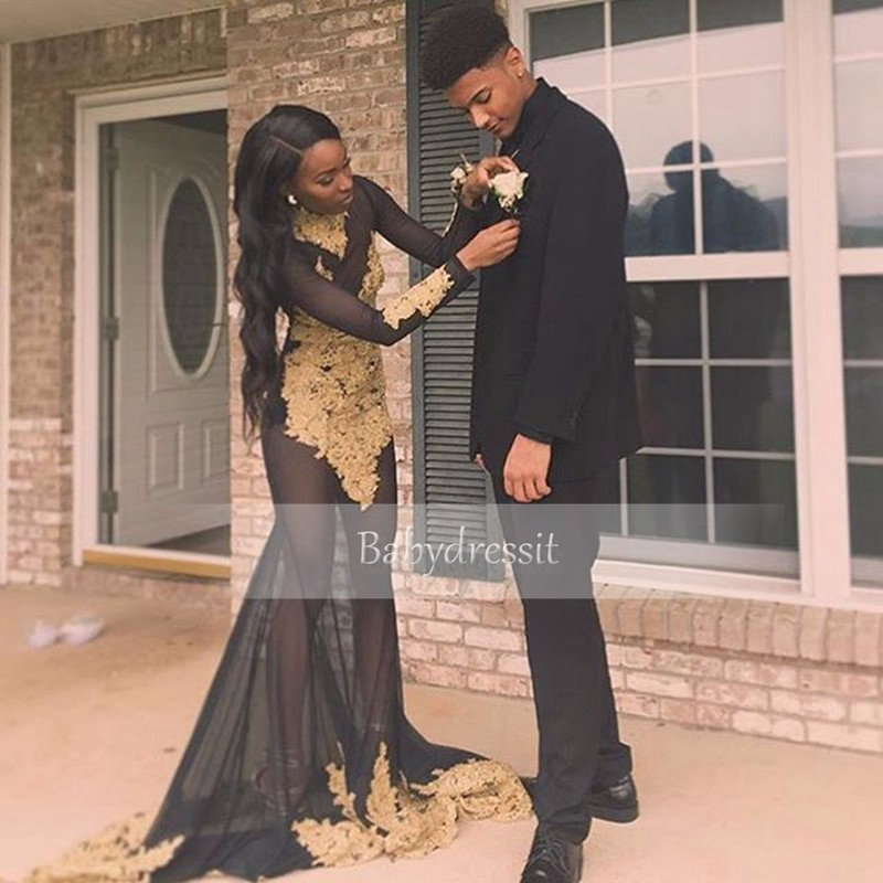 24a3e0a0e475 Sheer See Through Black Long Sleeve African Prom Dresses 2019 High Neck Gold  Lace Appliques Girl Long Sexy Mermaid Prom Dress