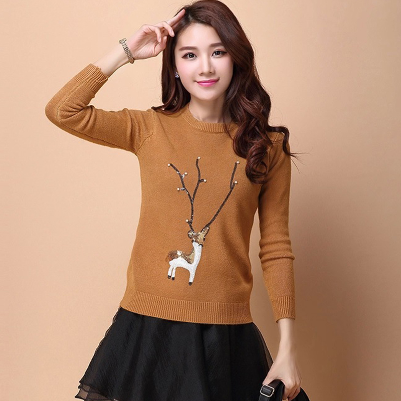 Women Autumn Winter Christmas Deer Knitted O neck Pullover Sweaters Ladies Casual Diamond Crochet Sweater Female Knit Tops