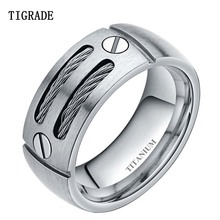 цена Tigrade 8mm Men's Silver Cable Inlay Titanium Ring Punk Engagement Wedding Band Screw Design Fashion Finger Jewelry For Women онлайн в 2017 году