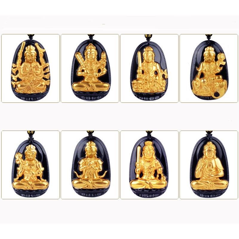 Di alta Qualità In Oro + Nero Naturale Ossidiana Scolpita Buddha Amuleto Fortunato Otto Santo Patrono Del Pendente Per Le Donne Degli Uomini di modo dei pendenti