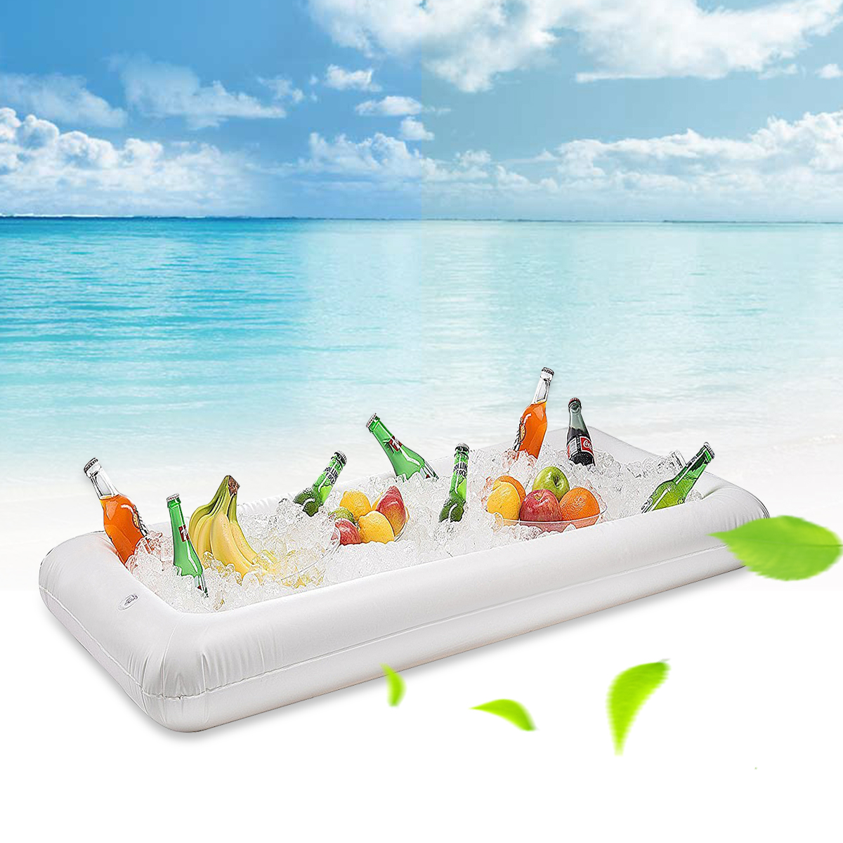 Inflatable Serving Bar Table Pool Float Hot Summer Water Party Ice Bucket Tray Food Drink Holder 51.5 x 24 x 4.5