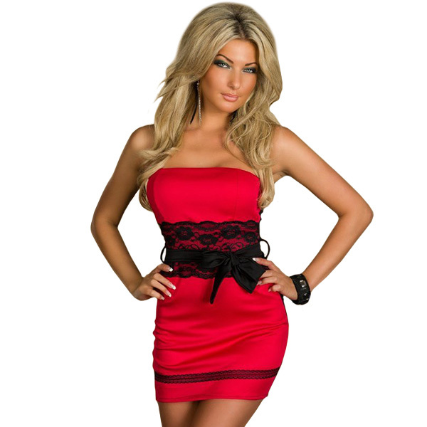 Ml17934 Free Shipping Red Black Strapless Girls Dresses Sexy New