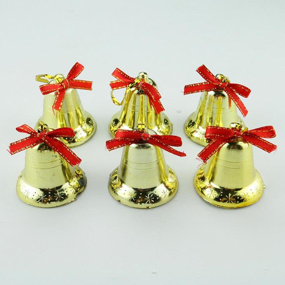 6Pcs Golden Bells Christmas Tree Ornaments Festive Golden Bell Christmas Decoration 2018 New Arrival Hot Sale