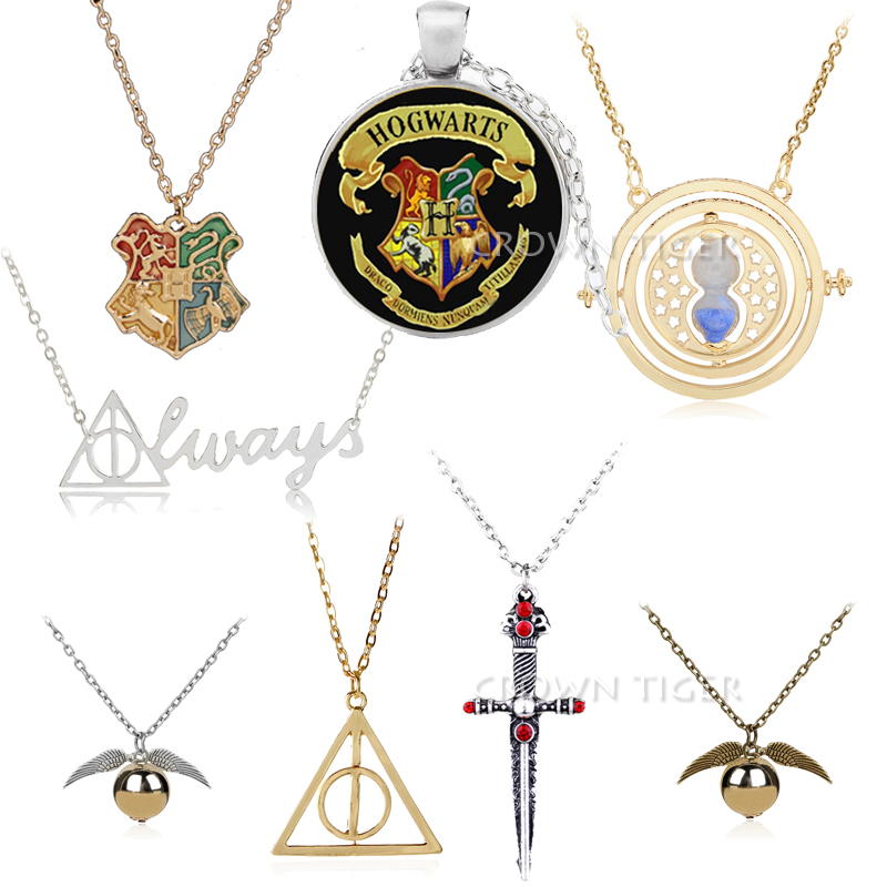 Harry Triangular Always Time Turner Necklace Death Hallows Pendant Necklace Action Figure Toys Women Jewelry Children Cosplay