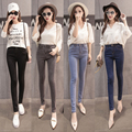 New 2017 Women Pencil Pants Jeans Elasticity Slim Denim Pants Pockets Zipper Fly Ladies Plus Size Trousers for woman