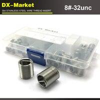 8 #-32unc kit de inserção da linha do fio  tamanho 5 100 pcs  inserções de rosca em aço inoxidável 304 kit  8 # fio unc rosca repair fixadores