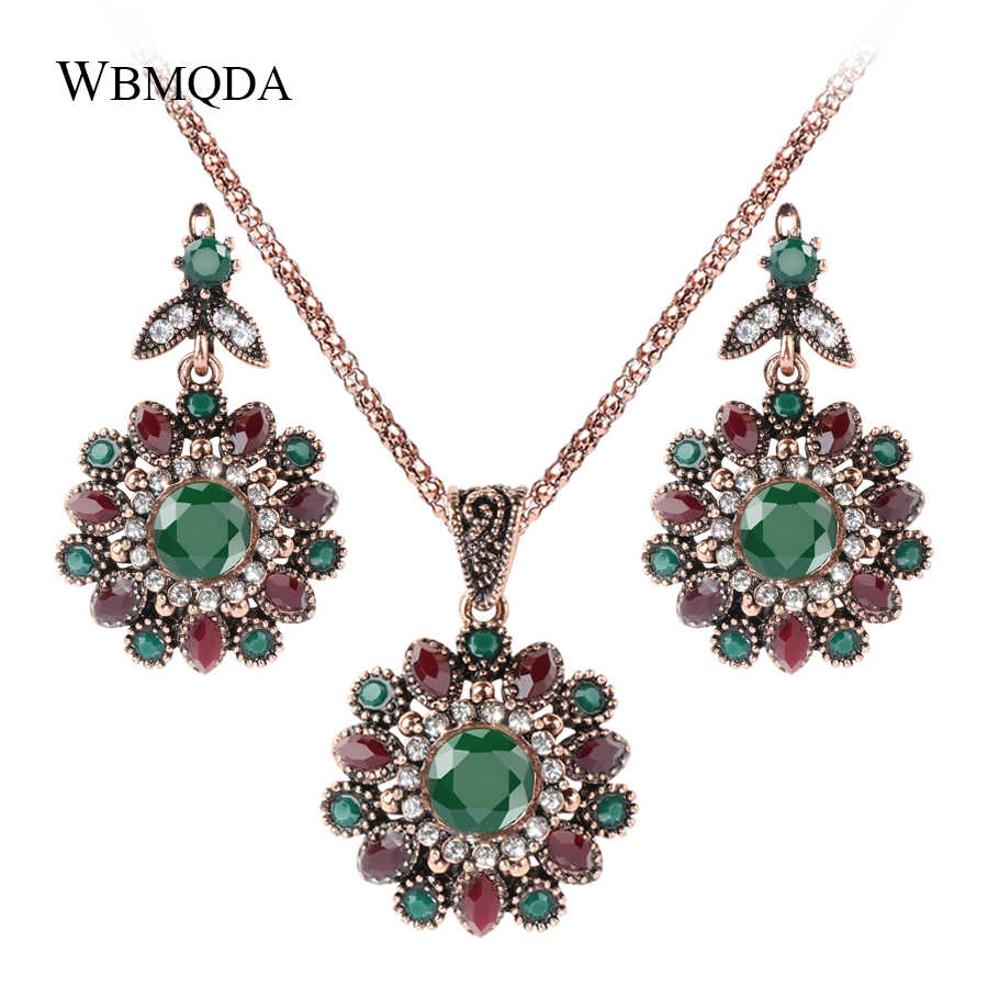2 Pcs/lot Ethnic Turkish Jewelry Sets Vintage Flower Crystal Gold Necklace Earrings For Women Wedding Party Indian Jewellery