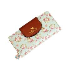 Fashion Luxury Brand Women Wallets Orchid Leather Wallet Female Flower Coin Purse Wallet Women Wristlet Money Bag Small Envelope