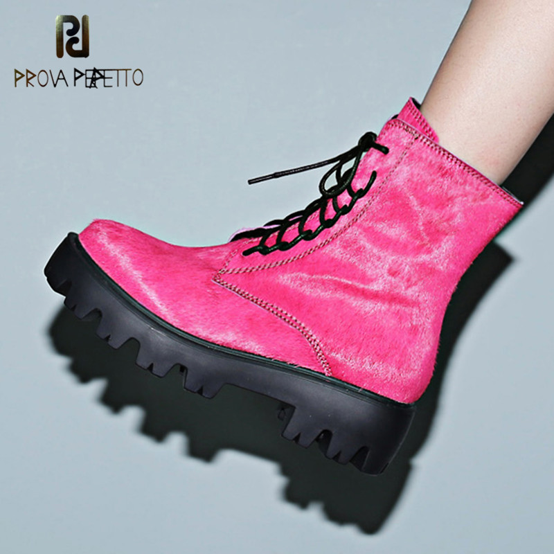 Prova Perfetto Women Ankle Boots Shoes Woman Fashion Rose Red Horse Hair Lace Up Shoes Punk