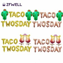 "ZFWELL 13pcs/lot Golden Silver Cactus Goblet Letter ""TACO TWOSDAY"" Aluminum Balloon Balloon Mexican Carnival Party Decoration85"
