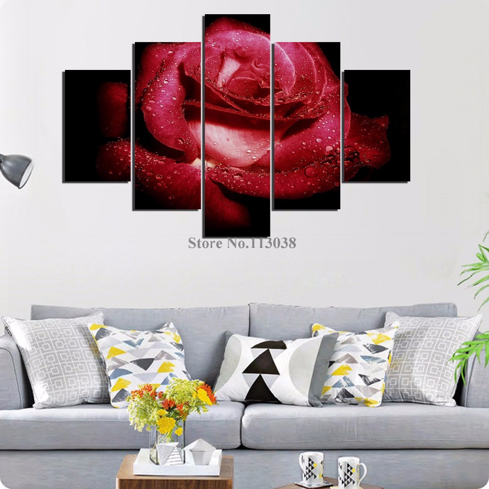 High Quality 5 Pieces Big Red Rose Printed Canvas Painting Living ...