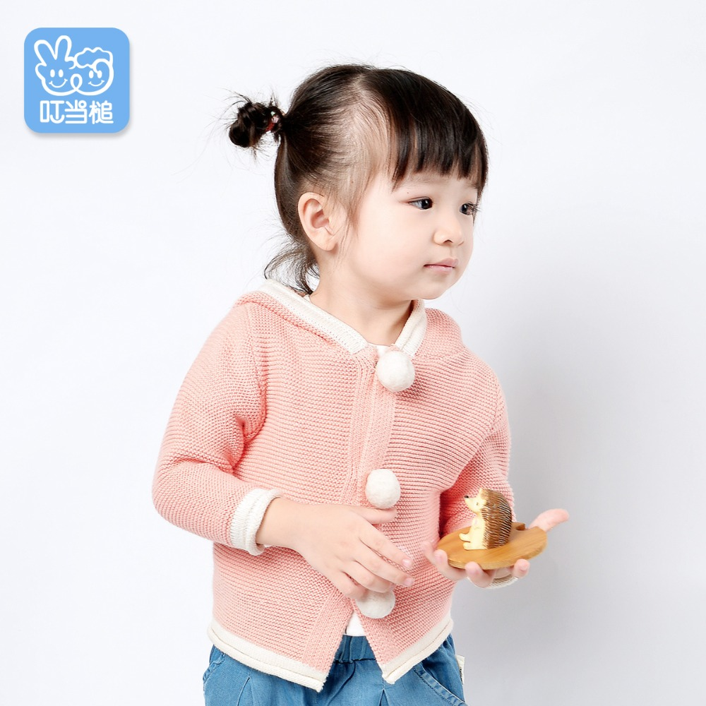 Dinstry Spring and Autumn kids and newborn baby girl round collar knitted sweater baby boy pure cardigan coat shawl collar knitted open front longline cardigan