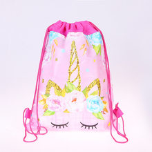 12pcs Unicorn Drawstring bag for Girls Travel Storage Package Cartoon School Backpacks Children Birthday Party Favors(China)