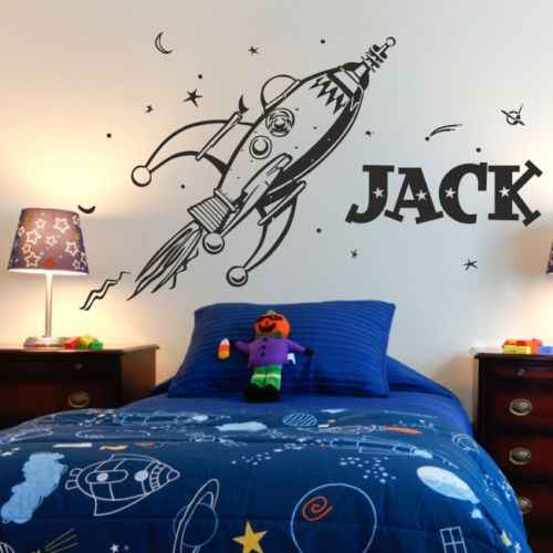 D0055 SPACE retro rocket planets wall sticker for kids bedroom Decoration art vinyl custom name personality wall Decal Mural