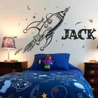 D0055 RAUM retro rakete planeten wand aufkleber für kinder schlafzimmer Dekoration kunst vinyl custom name persönlichkeit wand Aufkleber Wandbild