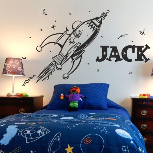 D0055 planetas ESPAÇO foguete retro adesivos de parede para crianças quarto Decoração arte personalidade nome personalizado vinil Decalque da parede Mural
