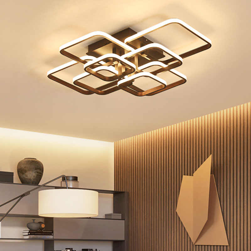 NEO Gleam Coffee Color Dimmable RC Led Chandelier For Living Room Bedroom Study Room 110V 220V Modern Led Chandelier Fixtures