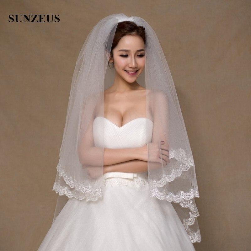 1 Meter Twee-layer Bruiloft Sluiers Met Kam Lace Edge Voile Mariage Bruidssluier Ivoor Pj019
