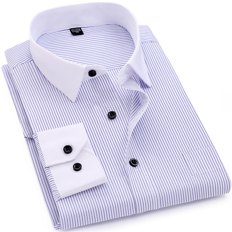 Striped Men Dress Shirt White Collar Design Formal Fashion Long Sleeve Business Men Casual Shirt Regular