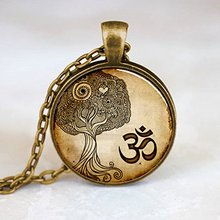 Namaste Necklace , Om Yoga Pendant Zen Tree Pendant Charm Bronze Vintage Choker Statement Necklace Women Jewelry Friend Gift HZ1