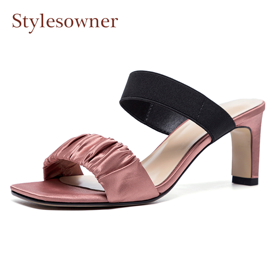 Dame Ouvert Chunky Pic 2018 Pic D'été As Élégant Sandale Haute Chaussures Pantoufles Nouvelles Stylesowner Bout Femmes as Soie Diapositives Luxe Carré De Talon 7qBaBZw