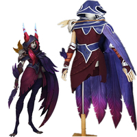 Game LOL Xayah Red Dress Hooded Cloak Cosplay Costume Fancy Costume COSPLAYONSEN
