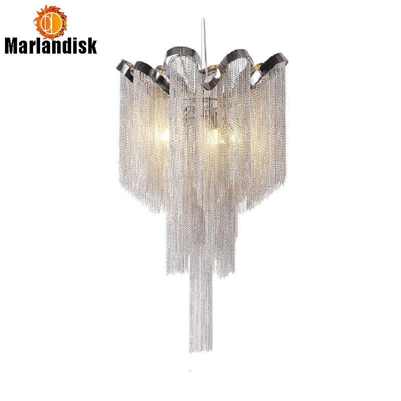 Современные Алюминий подвесной светильник роскошный Алюминий цепи G9 базы Крытый подвесные светильники для бара Обеденная Гостиная Спальн...