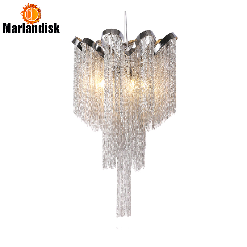 Modern Aluminum Pendant Lamp Luxury Aluminum Chains G9 Base Indoor Hanging Lights For Bar Dining Room