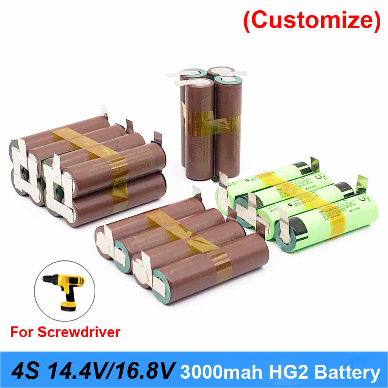 Battery 18650 hg2 3000mAh 20amps for 14.4v 16.8v screwdriver battery weld soldering strip 4S 4S2P 16.8v battery pack (customize)