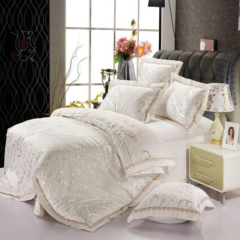 Aliexpress Com Buy Luxury White Jacquard Silk Bedding