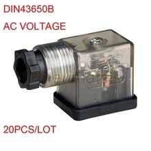 20 шт./лот DIN разъем коробка w винт и прокладка соленоиды катушки разъем со светодиодным индикатором DIN43650B AC Вольт