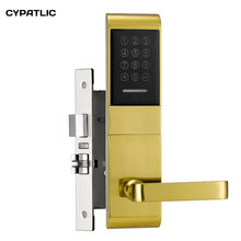Electric key code door lock apartment security passcode door lock with M1 card reader jcsmarts jcf3301 goden color electric key card door lock fingeprint biometric lock with double tongue mortise
