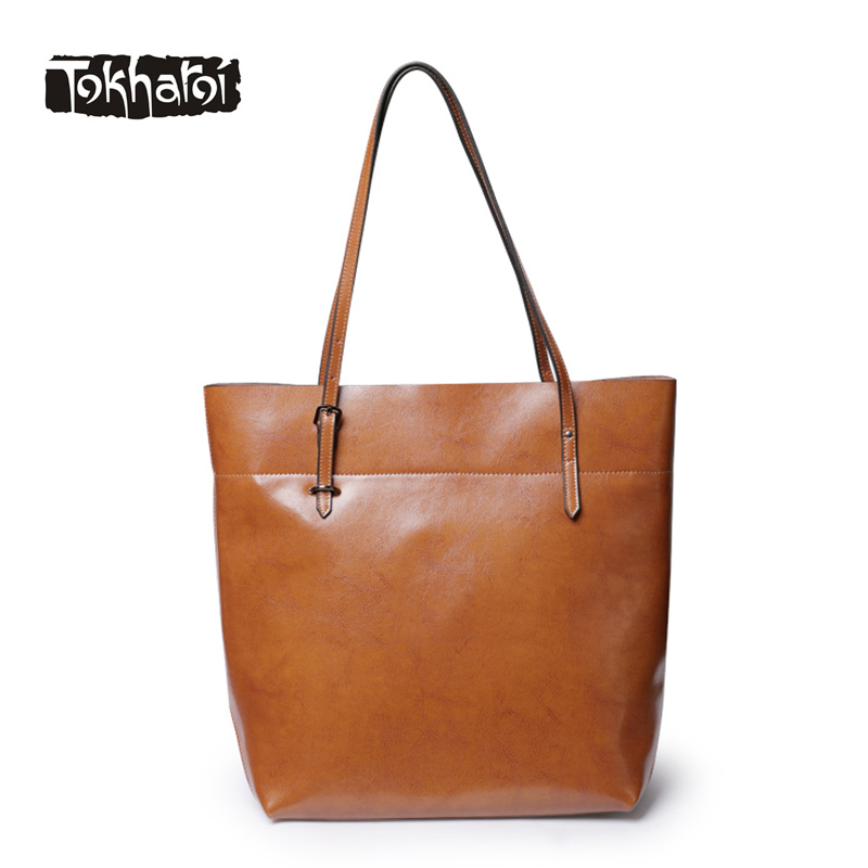 Tokharoi Brand Design Women Split Leather Handbag Female Zipper Solid Large Capacity Casual Tote Luxury Shoulder Bags For 2017